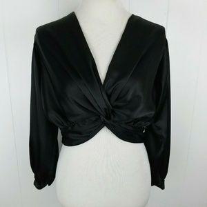 ASOS Black Deep V Neck Long Sleeve Dressy Blouse